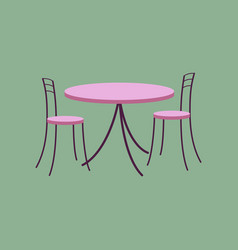 Icon in flat design chairs and table vector