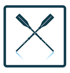 Icon of boat oars on gray background round shadow vector