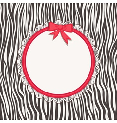 Invitation card with zebra texture vector