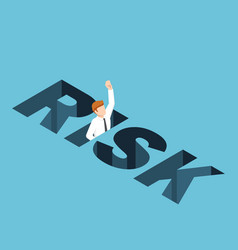 Isometric businessman falling into the risk hole vector