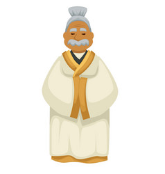 japanese old man in kimono with mustache elderly vector image