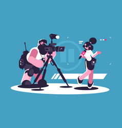 journalist and cameraman doing report together vector image