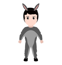 Kid with a donkey costume halloween vector