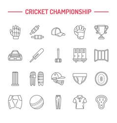 Line icons cricket sport game ball bat vector