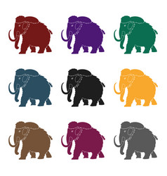 mammoth icon in black style isolated on white vector image