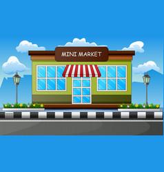 Mini market building outdoors on roadside vector