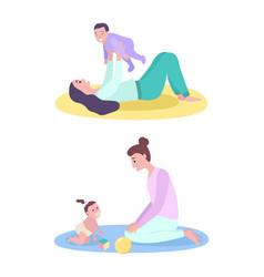 Mother and baby happy playing with kid vector