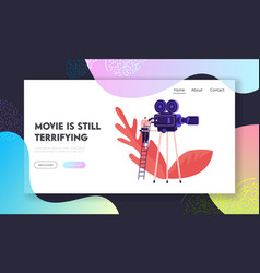Moviemaking studio process website landing page vector