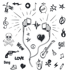 music headphones musical sketches and symbols vector image