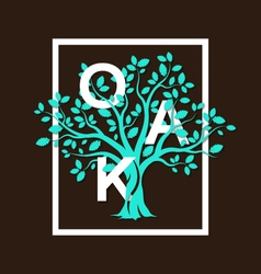 oak tree letters vector image
