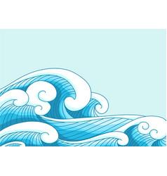 Ocean wave in modern oriental style border vector