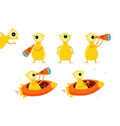 One-eyed yellow alien character set with vector