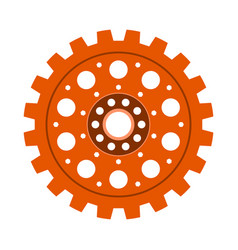 Orange gear wheel or cog vector