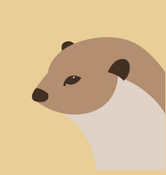 otter head flat style profile vector image