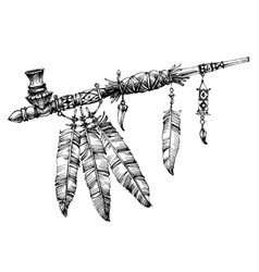 Pipe of peace drawing ceremonial native american vector