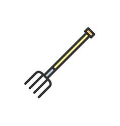 pitchfork fork flat color line icon vector image