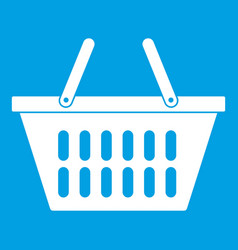 Plastic shopping basket icon white vector