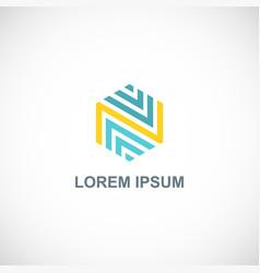 polygon letter n line logo vector image