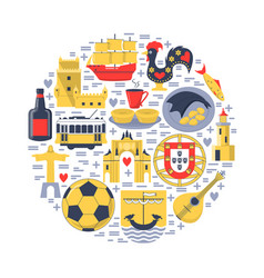 portugal round concept with icons in flat style vector image