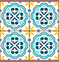 portuguese tiles azulejos seamless pattern vector image