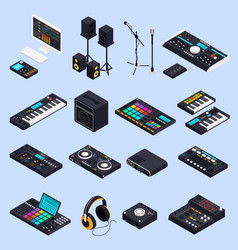 pro audio gear icons vector image