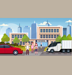 Pupils crossing road on crosswalk school building vector