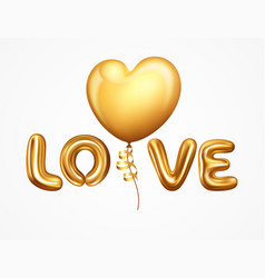 Realistic balloons letter love vector