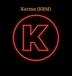 Red neon karma krm cryptocurrency symbol vector