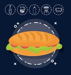 Sandwich for family summer picnic vector
