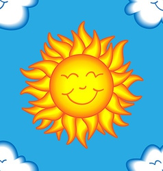 Seamless happy sun and cloud pattern vector image