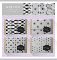 Set geometric seamless pattern 6 vector