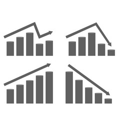set graphs rising and falling prices vector image