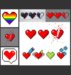 Set of 8 bit pixel art hearts vector