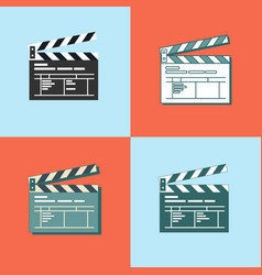 set of simple clapper board icon in flat style vector image