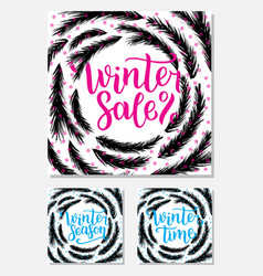 Set winter sale season and time lettering design vector