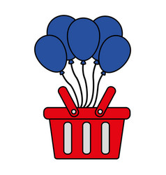 shopping online basket balloons commerce vector image