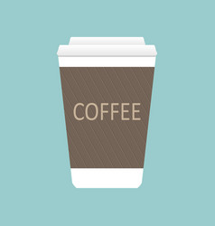 Simple flat coffee cup icon isolated on blue backg vector