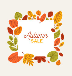 Square autumn banner template decorated fallen vector