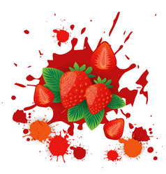 strawberry fruit logo watercolor splash design vector image