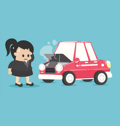 Stressed businesswoman near broken car vector