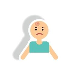 Stylish icon in paper sticker style man headache vector