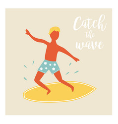 surfer boy catching the wave vintage poster vector image