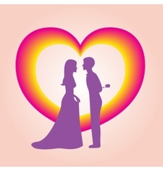 The image of heart and two people vector image