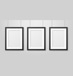 three realistic modern interior black blank vector image