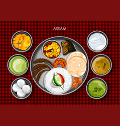 Traditional assamese cuisine and food meal thali vector