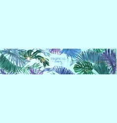 Tropical leaves web banner vector