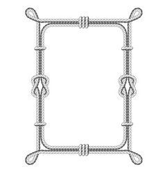 Twisted rope square frames with knots and loops vector