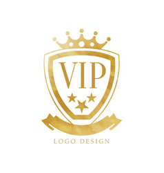 vip logo design luxury golden badge for club vector image