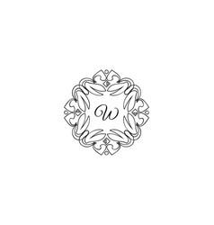 w letter logo monogram design elements line art vector image