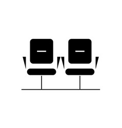 waiting room black concept icon waiting vector image